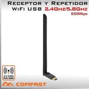 5Ghz y 2.4Ghz USB WIFI inalámbrico 650Mbps Adaptador y Repetidor