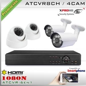 KIT 8CH-1080N 4CAM (2xBox+2xDom) CMOS - XPROHD Xmeye K2MN7808B2D2F37