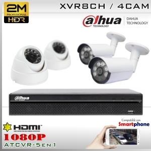 KIT 8CH-1080P 4CAM (2xBox+2xDom) CMOS - DAHUA DMSS K2MN5108B2D2F37