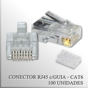 Conector RJ45 CAT6 Macho con guia x 100 unidades