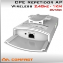 CPE Repetidor WiFi 2.4Ghz Exterior 300Mbps - Alcance 1KM
