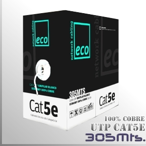 Cable UTP CAT5 100% Cobre Unifilar - 305 M.- Serie ECO