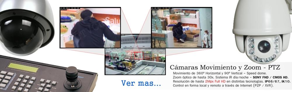 Camaras PTZ Movimiento y zoom Tarjeta SD CCTV CVI IP AHD CVBS FullHD HD 8Mpx