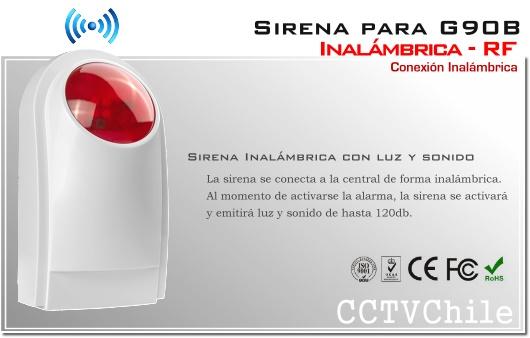 Sirena Inalambrica Alarma G90B RF - Luz y Sonido