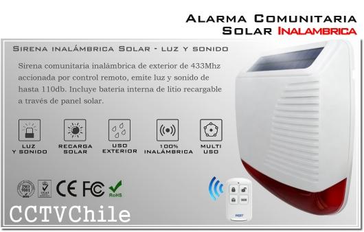 Alarma y Sirena comunitaria inalambrica solar - Luz y Sonido