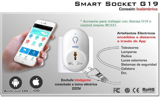 Smart socket S71 Kerui - Enchufe inteligente con encendido a distancia compatible Alarma G19 Kerui GSM+GPRS SmartPhone Enchufe y control remoto