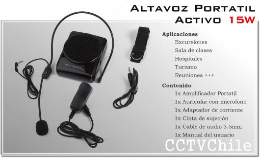 Altavoz Activo Portatil 15W - Alta potencia - Altavoz clases aulas excursiones reuniones