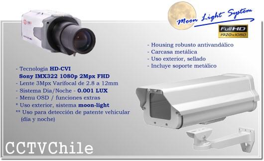 KIT Camara CVI Moonlight Bullet BoxCam XPROHD Lente varifocal de 2.8mm a 12mm - Sensor SONY Full Hd 1080p - Moonlight System - Camara placa patentes - Deteccion de patentes - LPR - IP66 - Housing