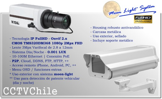 KIT Camara IP Moonlight Bullet BoxCam XPROHD Lente varifocal de 2.8mm a 12mm - Sensor SONY Full Hd 1080p - Moonlight System - Camara placa patentes - Deteccion de patentes - LPR - IP66 - Housing