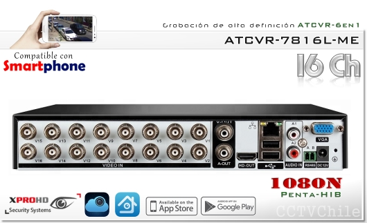 HD ATCVR 6 en 1 - Full FHD-N 1080N - XPROHD - XVI-AHD-CVBS-TVI-CVR-IP - 1080N - 2 audios