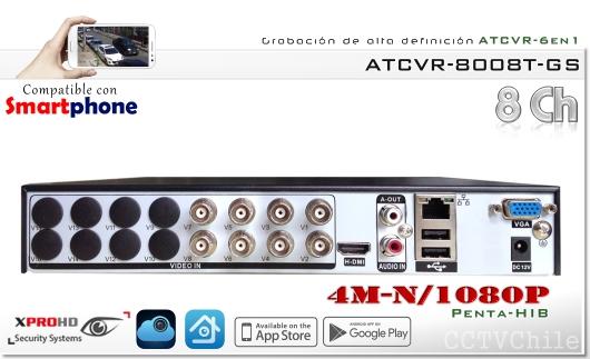 HD ATCVR 6 en 1 - FullHD 1080p - 4M-N - XPROHD - XVI-AHD-CVBS-TVI-CVR-IP - 1 audio