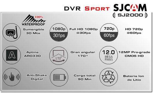 SPORTCAM SJCAM SJ2000 - CAMARA DEPORTIVA EXTREMA ACUATICA SUMERGIBLE WATERPROOF XPROHD - FULLHD - 1080p 30FPS - 720p - CAMARA MOTOCICLETA BICICLETA - CAMARA GUARDIA