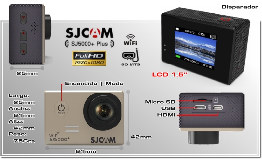 SPORTCAM SJCAM SJ5000PLUS+ - CAMARA DEPORTIVA WIFI ACUATICA SUMERGIBLE WATERPROOF XPROHD - FULLHD - 1080p 60FPS - 720p - HERO GOPRO
