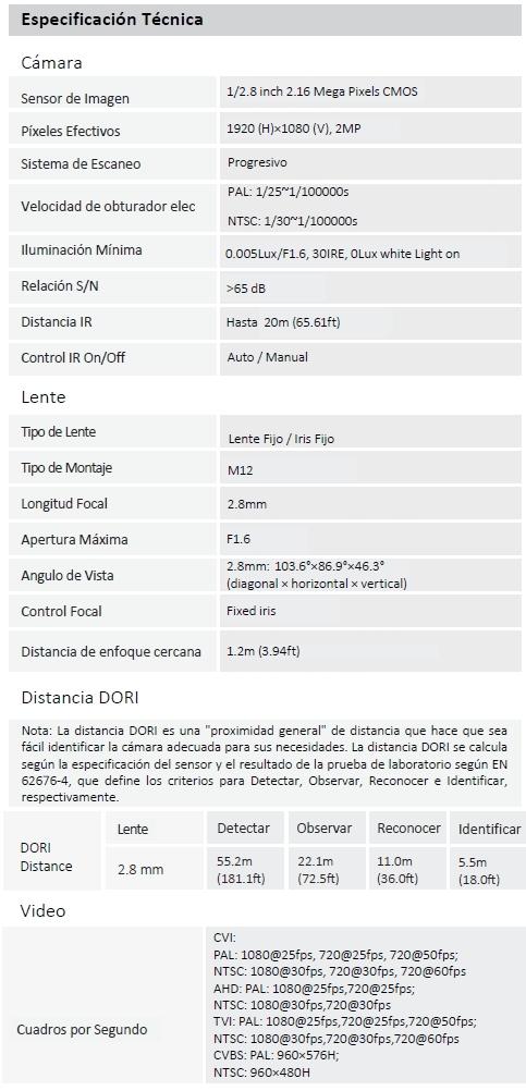 Camara DAHUA DH-HAC-HFW1239TN-A-LED
