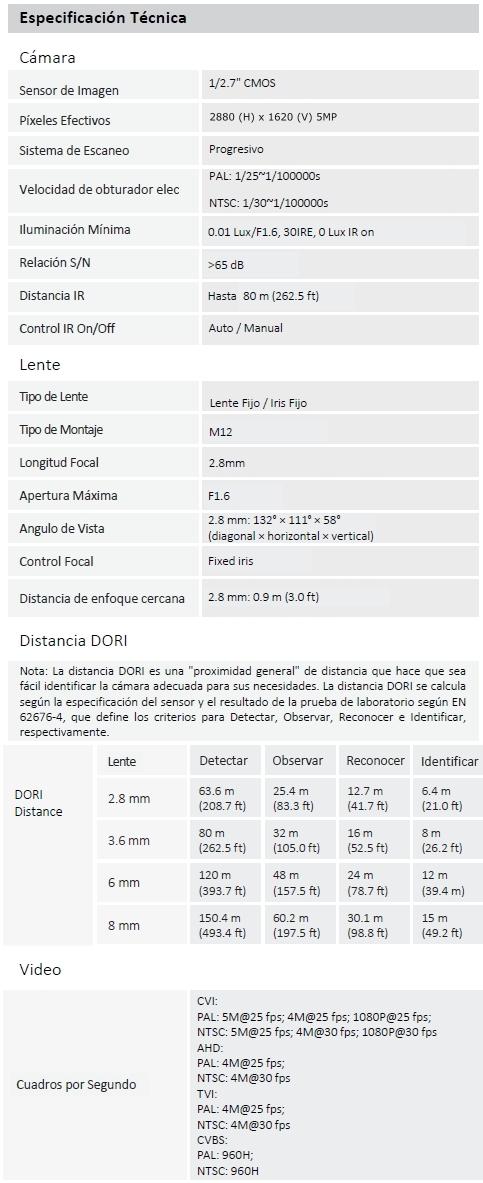 Camara DAHUA DH-HAC-HFW1500TLN
