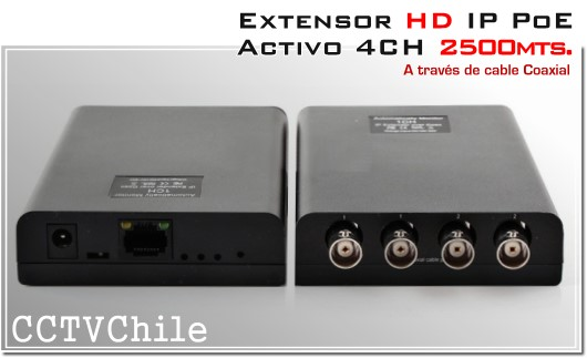 Extensor Activo IP HD( red ) 4 canales a través de cable coaxial | 2500mts.