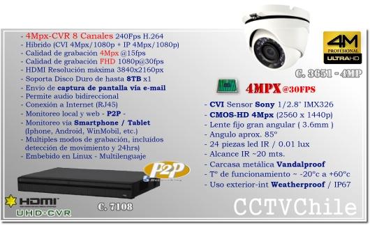 KIT 4Mpx - CVI hibrido 8Ch - Oferta - P2P - KIT seguridad - Kit Vigilancia - Promocion - XPROHD - UHD 4MPX - 2560x1440p