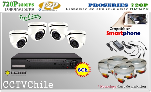 KIT Full - ahd trihibrido 8Ch - Oferta - P2P - KIT seguridad - Kit Vigilancia - Promocion - XPROHD - hd - 720p - 1280x720p