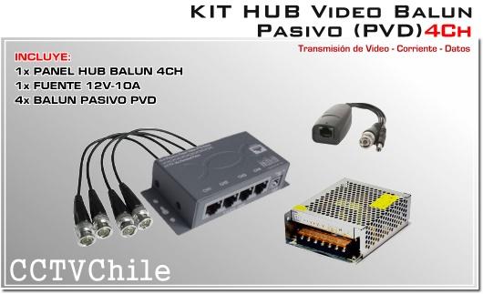 KIT HUB VIDEO BALUN PASIVO CCTV 308PVD-KIT 4 canales