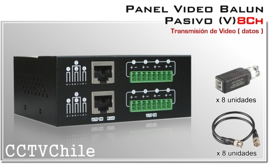 PANEL VIDEO BALUN PASIVO CCTV 4608SR-III 8 canales