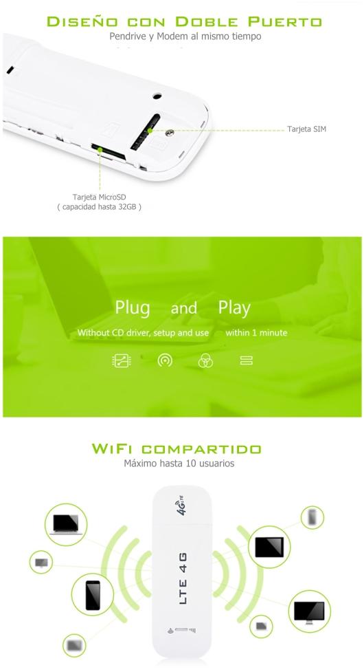 Modem USB WiFi 3G/4G WiFi 2G 5G Rural y Domiciliario 150mbps Entel Movistar Claro WOM