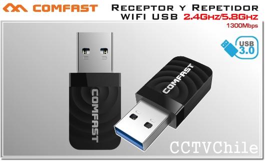 COMFAST Adaptador y Repetidor USB 3.0 WIFI inalámbrico 1300Mbps 2.4Ghz 5.8Ghz