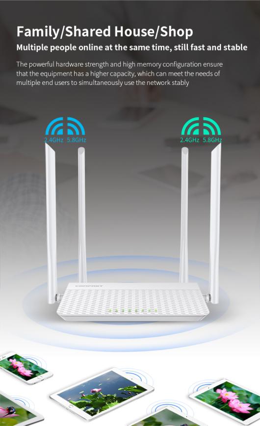 Comfast CF-N3V3 1200Mbps Repetidor de enrutador WIFI al aire libre 2.4G 300Mbps + 5Ghz 867mbps 1200mbps